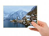 Mountains ski resort Hallstatt Austria photography in hand (my photo) isolated on white background