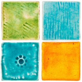 stock photo of raku  - Handmade glazed ceramic tiles isolated on white - JPG