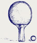 stock photo of ping pong  - Racket for playing ping pong - JPG
