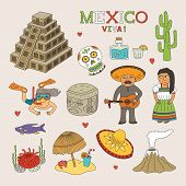 Vector Mexico Doodle Art For Travel And Tourism poster
