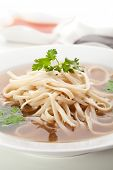 pic of rice noodles  - Beef Broth with Rice Noodle and Chili Sauce - JPG