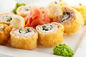 foto of deep  - Salmon Fried Maki Sushi  - JPG