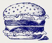 stock photo of hamburger  - Big and tasty hamburger - JPG