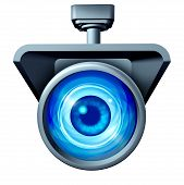 stock photo of social-security  - Video surveillance and big brother is watching concept as a security camera monitoring the public with a large eye spying as a symbol for privacy rights issues isolated on a white background - JPG