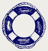 image of life-boat  - Nautical Life Preserver Doodle style - JPG
