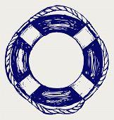 stock photo of nautical equipment  - Nautical Life Preserver Doodle style - JPG