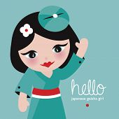 stock photo of geisha  - Hello japanese geisha girl adorable kids postcard cover design with waving kids illustration in vector - JPG