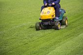 stock photo of grass area  - Mowing the grass motor lawn mower on a football field - JPG