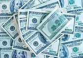 stock photo of 100 dollars dollar bill american paper money cash stack  - One hundred dollars banknotes background from dollars - JPG