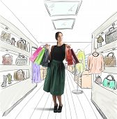 stock photo of going out business sale  - Girl goes shopping in her favorite store - JPG