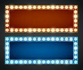 foto of marquee  - Blue red gold colored vector retro looks frames template - JPG