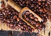 picture of pot roast  - coffee beans on the wooden table roast coffee beans - JPG