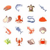 foto of lobster  - Sea food icon flat set with lobster salmon shrimp isolated vector illustration - JPG