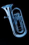 Blue Tuba Euphonium On Black