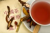 pic of naturopathy  - ingredients for a cup of tea in traditional chinese medicine - JPG