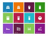 stock photo of bunk-bed  - Full and single bed icons on color background - JPG