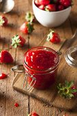 stock photo of jar jelly  - Homemade Organic Strawberry Jelly in a Jar - JPG