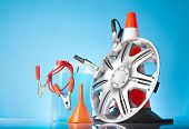 pic of alloy  - alloy wheel and car accessories on blue background - JPG