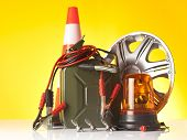 stock photo of rectifier  - motor oil canister and car accessories - JPG