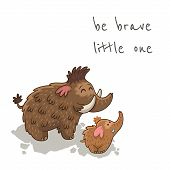 stock photo of mammoth  - Be brave little one - JPG