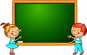 picture of classroom  - Little kids at the blackboard in the classroom - JPG