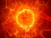 pic of fieri  - Fiery torus shaped plasma power field computer generated abstract background - JPG