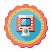 stock photo of automatic teller machine  - Atm Flat Icon With Long Shadow - JPG