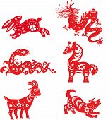pic of chinese zodiac animals  - Set of Chinese zodiac animals isolated on the white - JPG