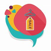 image of clothes hanger  - Shopping Clothes Hanger Flat Icon With Long Shadow - JPG