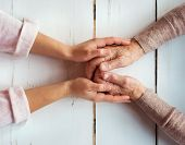 picture of granddaughters  - Unrecognizable grandmother and her granddaughter holding hands - JPG