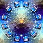foto of gemini  - Circle with signs of zodiac on icons - JPG