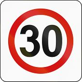 image of traffic rules  - Polish traffic sign indicating a zone with reduced traffic and a speed limit of 30 kilometers per hour - JPG