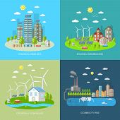 stock photo of suburban city  - Eco city design concept set with ecologically urban suburban area clean village flat icons isolated vector illustration - JPG