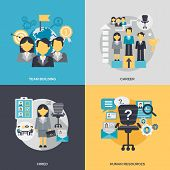 stock photo of team building  - Human resources design concept set with team building career hired person flat icons isolated vector illustration - JPG