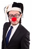 stock photo of clowns  - Funny clown businessman isolated on the white background - JPG