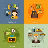picture of designated driver  - Taxi service design concept set with driver and payment flat icons isolated vector illustration - JPG