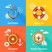 picture of four-wheel  - Vintage marine nautical concept 4 flat icons composition with anchor compass and steering wheel abstract vector illustration - JPG