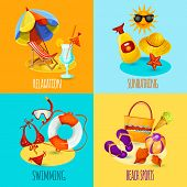 picture of sunbather  - Summer holidays design concept set with relaxation sunbathing swimming beach sports icons isolated vector illustration - JPG
