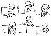 stock photo of chefs hat  - Happy smiling female and male chefs in uniform hats holding blank menu or recipe in doodle sketch style for restaurant or cafe design - JPG