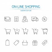 picture of gift basket  - Online shopping icons set - JPG