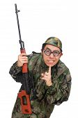 stock photo of shhh  - Military man with a gun isolated on white - JPG
