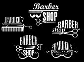 stock photo of barber  - Vintage barber shop or salon emblems and logos including open and close scissors - JPG
