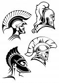 pic of traditional  - Heads of spartan warriors or gladiators wearing in traditional helmets with crests and mohawks or plumes in outline sketch style - JPG