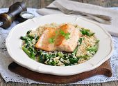 picture of kidney beans  - Fried salmon with brown rice - JPG