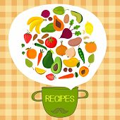 picture of recipe card  - Recipes concept card with fruits and vegetables - JPG