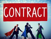 stock photo of bartering  - Contract Deal Agreement Negotiation Commitment Concept - JPG