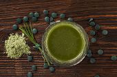pic of chlorella  - Spirulina chlorella barley and wheatgrass - JPG