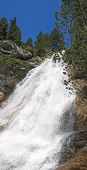 Powerfull Waterfall River Flowing From The Gavarnie Circus Mountains, The Pyrenees, France, Panorama