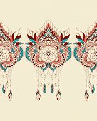 stock photo of dreamcatcher  - Vector seamless background with dreamcatchers ornamental colorful - JPG