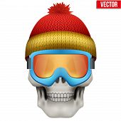 pic of goggles  - Vector Human skull with winter hat and goggles - JPG